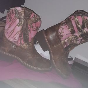 Pink camo boots